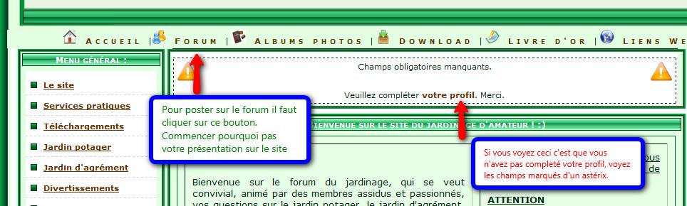 lien forum et modif profil